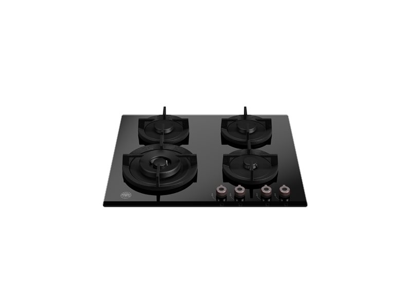 60 cm piano gas in cristallo con wok laterale | Bertazzoni - Nero