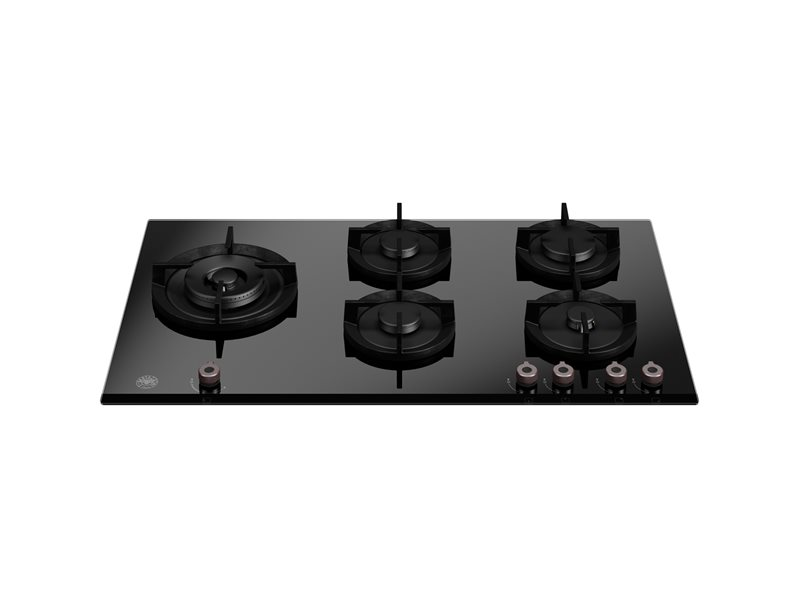 90 cm piano gas in cristallo con wok laterale | Bertazzoni - Nero