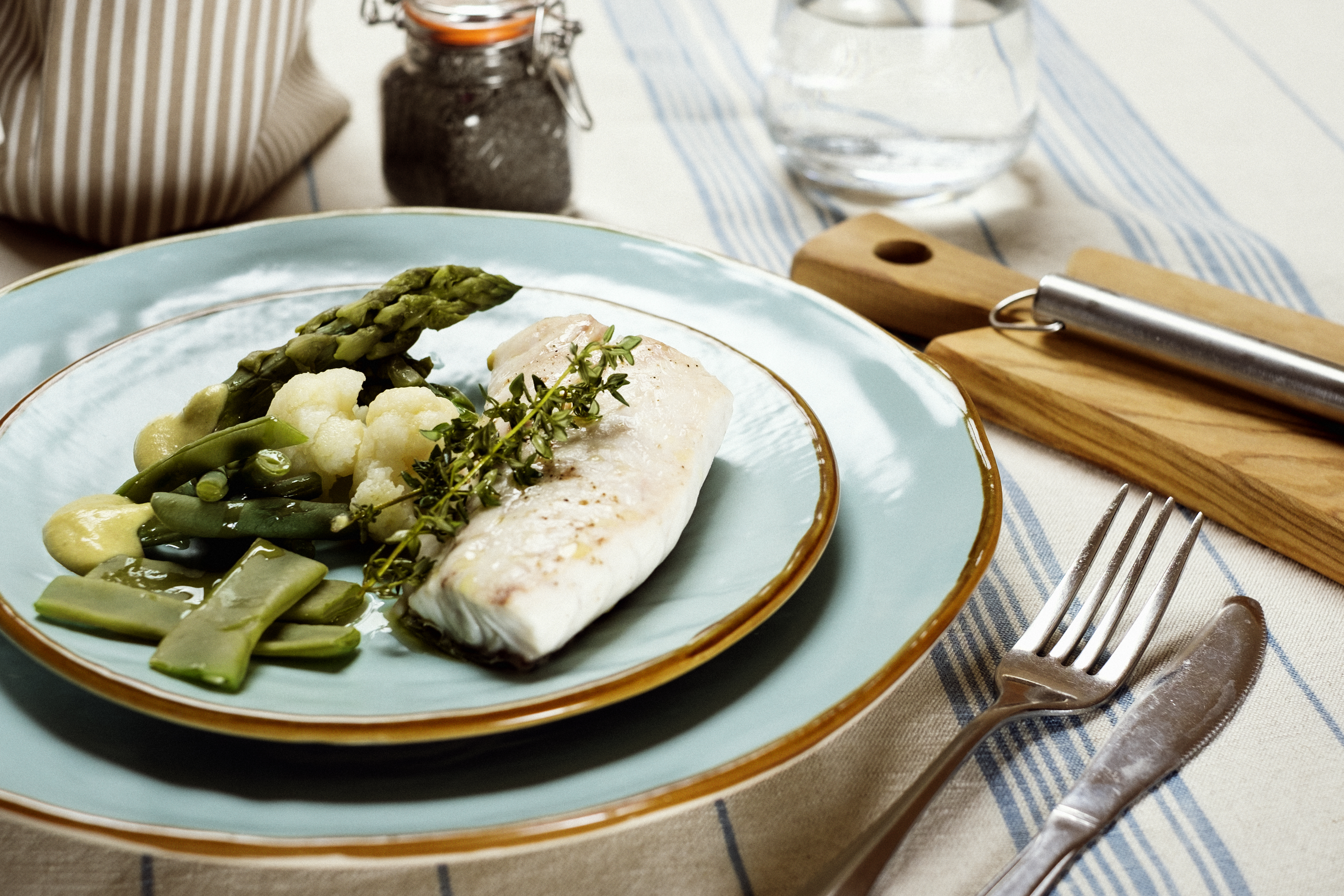 pescato del giorno e verdure al vapore